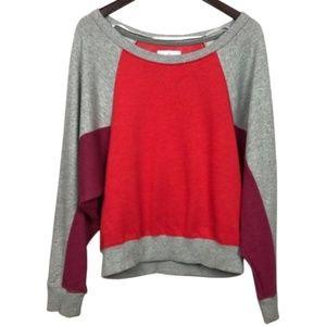 Alternative Gray Red Colorblock Sweatshirt Size L